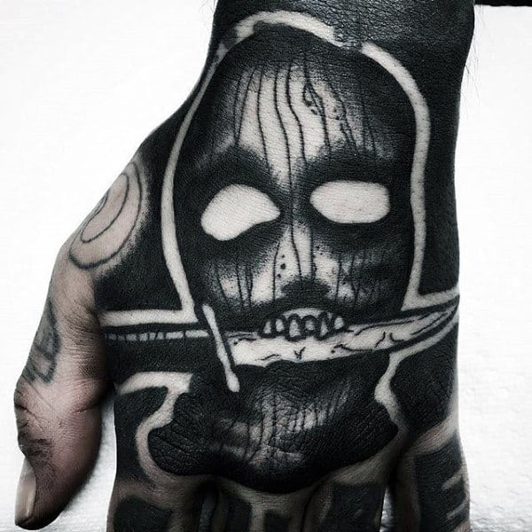Masked Man With Knife Blackwork Hand Tattoos For Men
