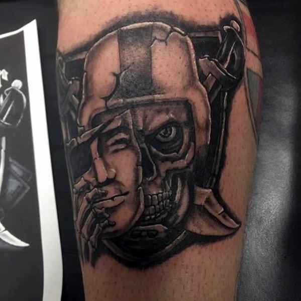 Masked Oakland Raiders Skull Guys Leg Tattoo