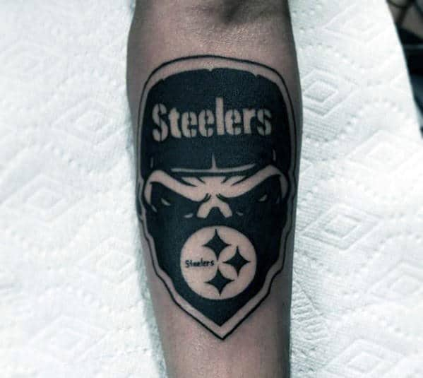 Masked Pittsburgh Steelers Guys Negative Space Inner Forearm Tattoos