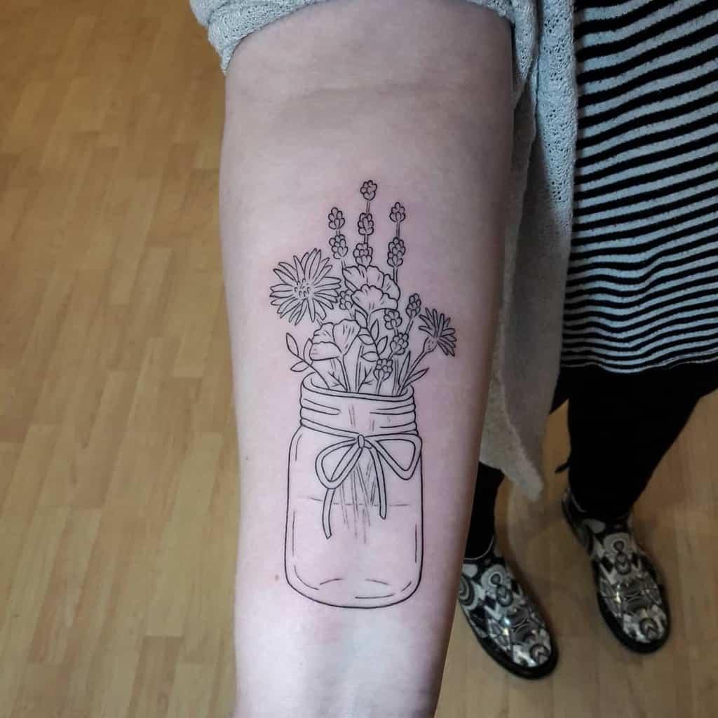 Mason Jar Lavander Tattoo