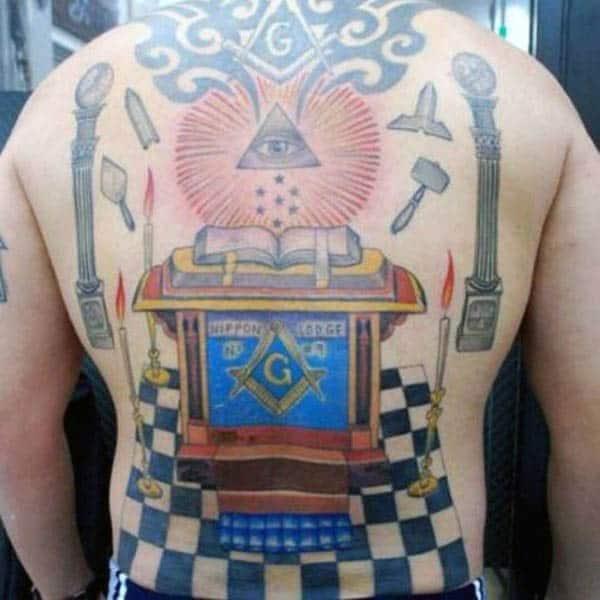 Masonic Alter Back Tattoo On Male