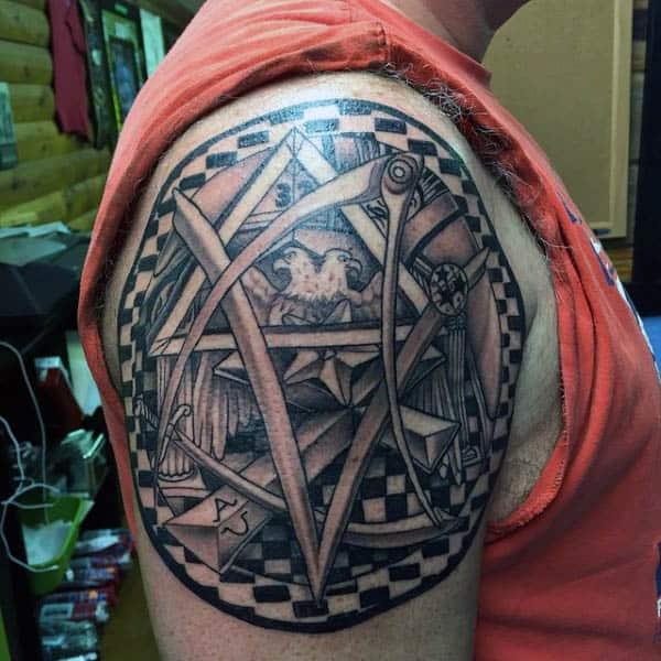 Masonic Grand Lodge Themed Upper Arm Guys Tattoos