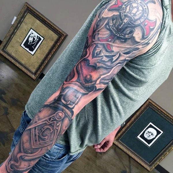 Masonic Themed Mens Full Sleeve Tattoo