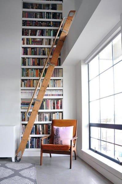 Massive Ladder Two Story Designs For Floor To Ceiling Bookshelves