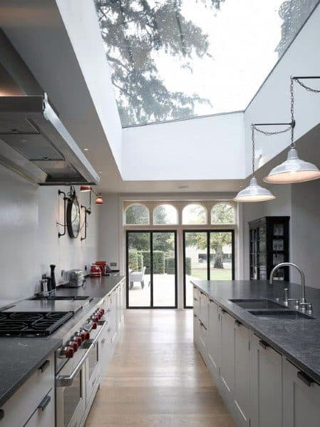 Massive Skylight Industrial Kitchen Ceiling Ideas
