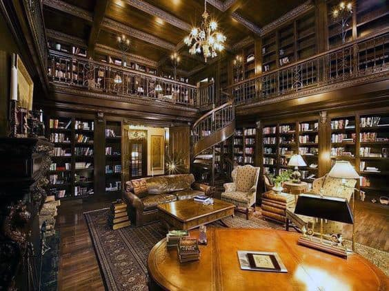 Massive Traditional Home Library Inspiration