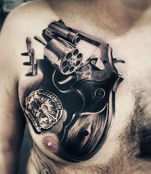 Massive Unloaded Pistol Tattoo On Chest For Guys