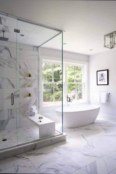 Master Bath White Color Design Ideas With Marble Shower And Floors