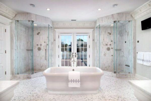 Master Bathroom Ideas Double Showers With Bathtub In Center Of Room