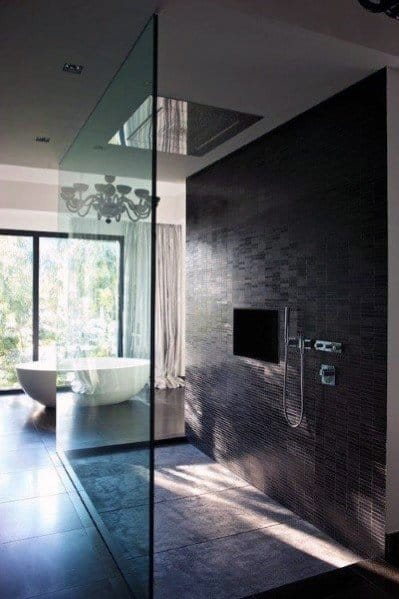 Master Bathroom Ideas Open Large Walk In Glass Shower