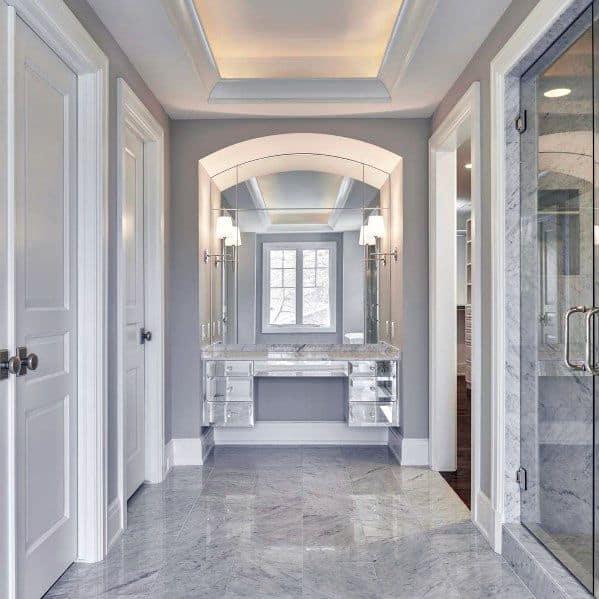 Master Bathroom Interior Ideas For Crown Molding Lighting
