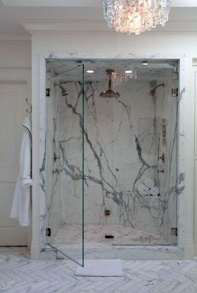 Master Bathroom Shower Marble Tile Design Ideas