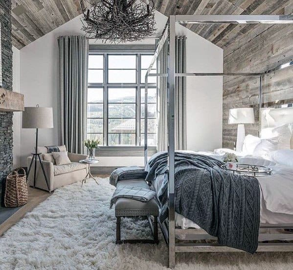 Master Bedroom Salvaged Barn Wood Rustic Ceiling Ideas