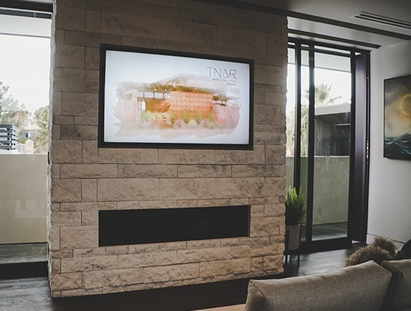 Master Bedroom Stone Linear Fireplace Las Vegas Nevada 2019 New American Remodel