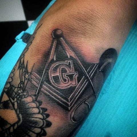 Master Mason Male Arm Masonic Tattoo