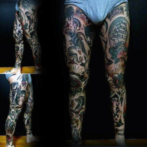 Masuline Traditional Leg Full Sleeve Tattoo Design Ideas