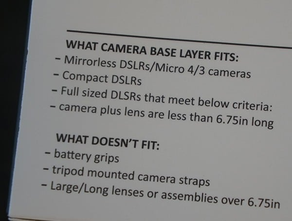 Matador Camera Base Layer Dslr Models Fitment