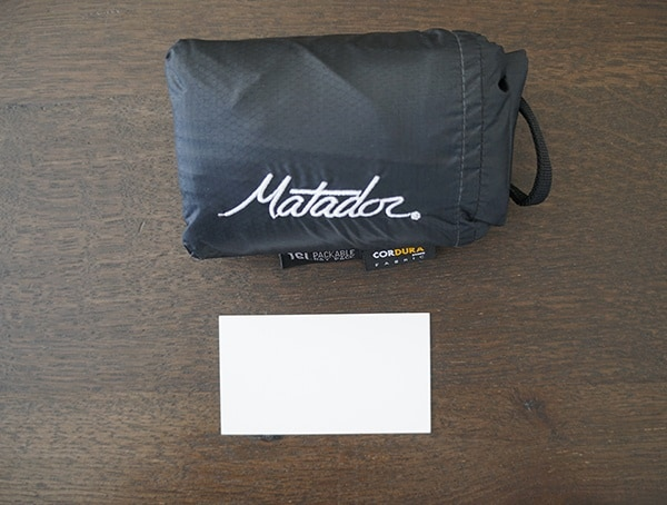 Matador Freefly16 Pack Away Backpack Business Card Size Comparison
