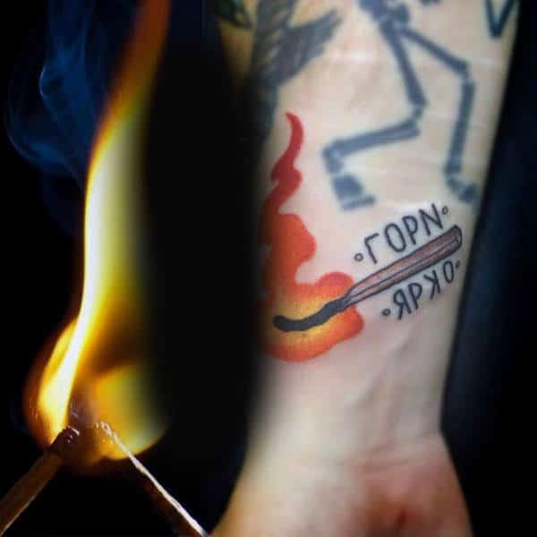 Match Fire Mens Wrist Tattoos
