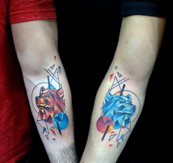 Matching Geometric Bear Guys Brothers Tattoo