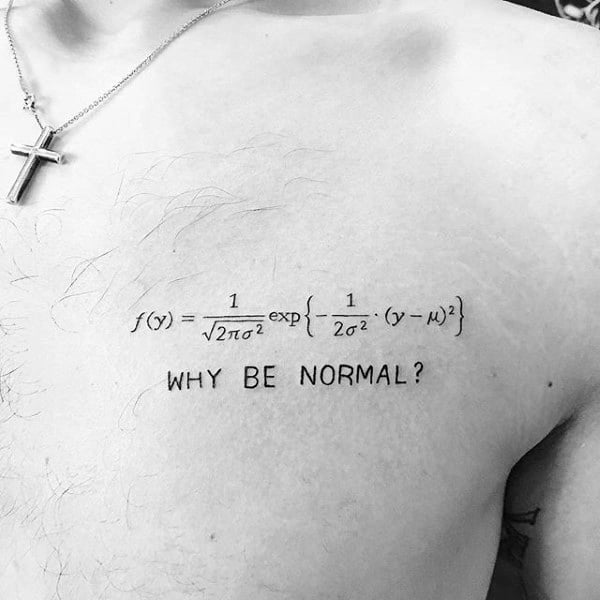 Mathmatical Equation Mens Numbers Chest Tattoo
