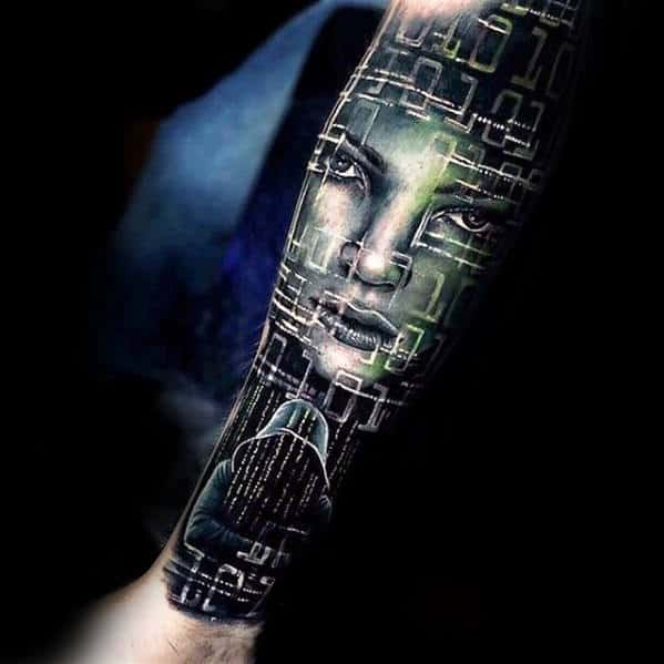 Matrix Guys Forearm Sleeve 3d Tattoo