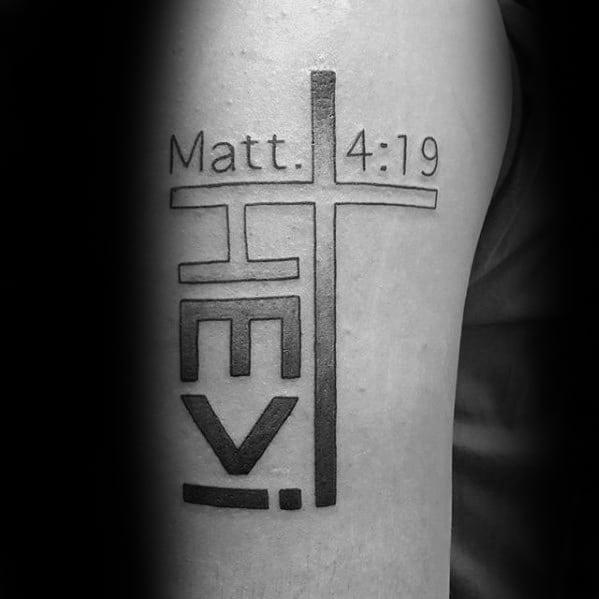 Matthew 4 19 Simple Christian Mens Arm Tattoo