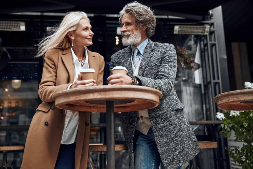 mature couple enjoying coffee