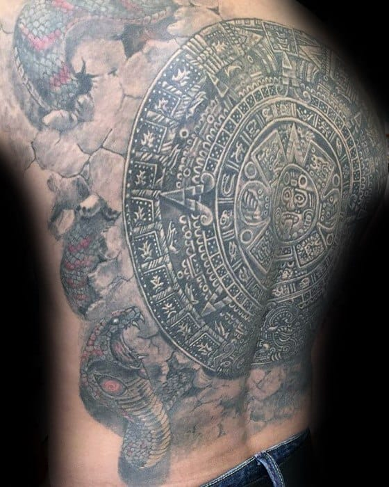 Mayan Calender Guys Tattoo Ideas White And Grey Ink Full Back