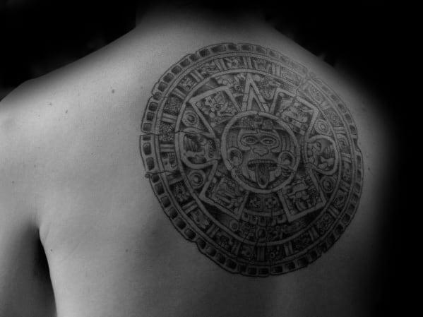 Mayan Calender Guys Tattoos Upper Back