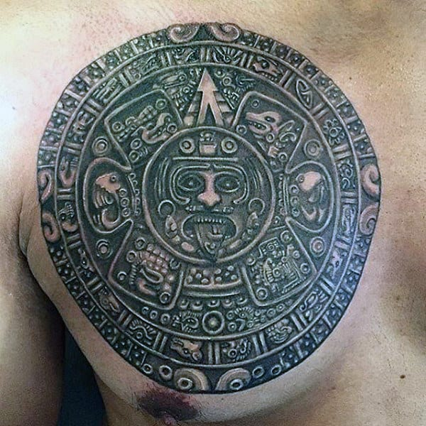 Mayan Guys Stone Chest Tattoos