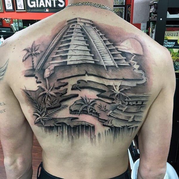 Mayan Pyramid Guys 3d Back Tattoo