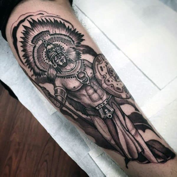 Mayan Tribal Mens Warrior Forearm Tattoos