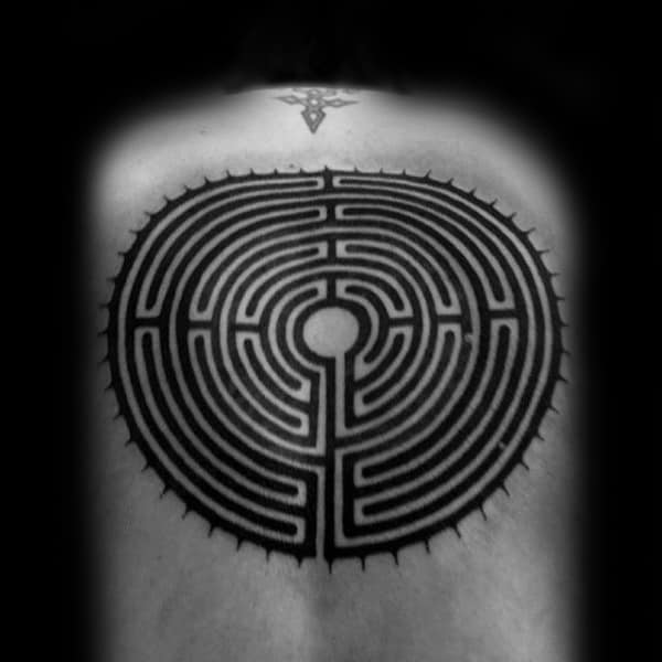 Maze Circle Guys Back Black Ink Tattoos