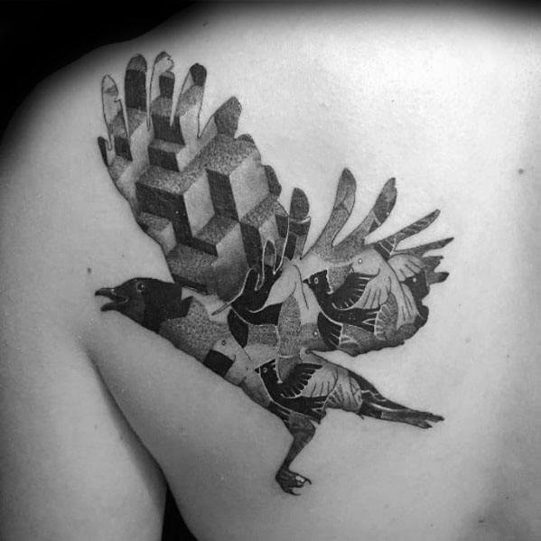 Mc Escher Flying Bird Shoulder Tattoo Ideas On Guys