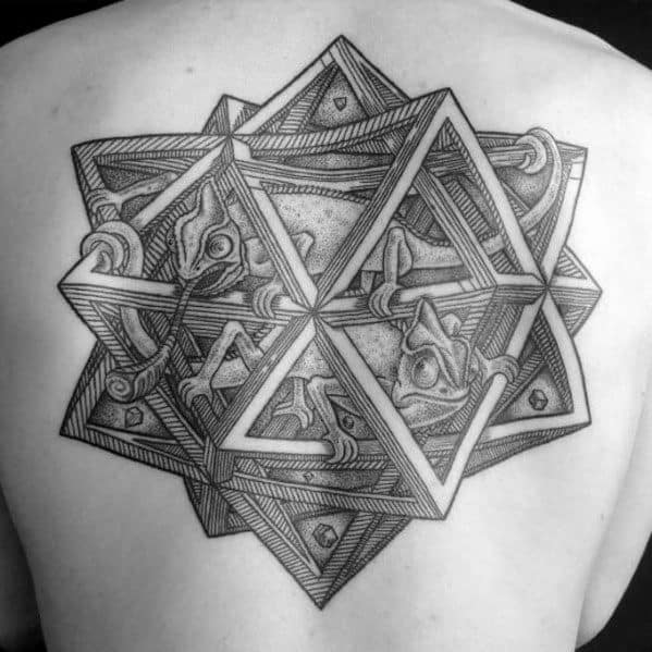 Mc Escher Male 3d Back Geometric Tattoo Designs