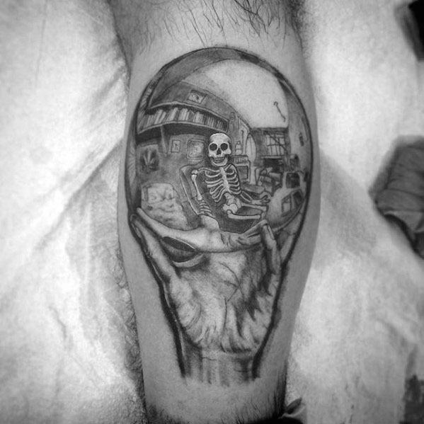Mc Escher Mens Tattoo Ideas On Leg Calf