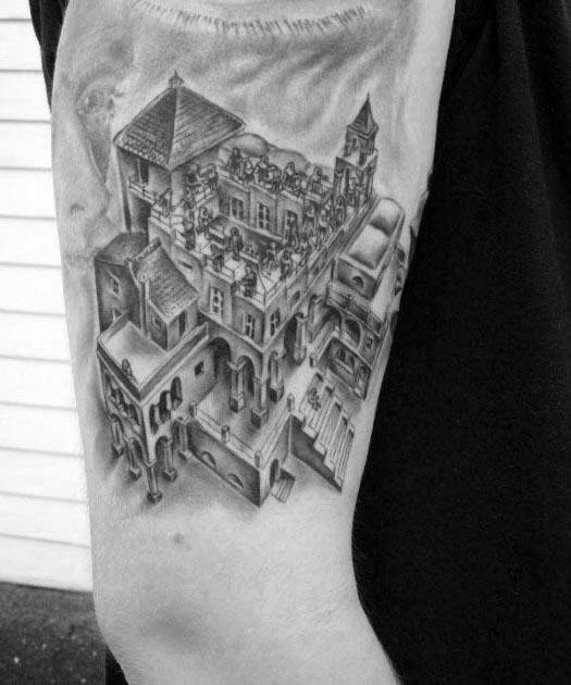 Mc Escher Tattoo Ideas For Males On Arm