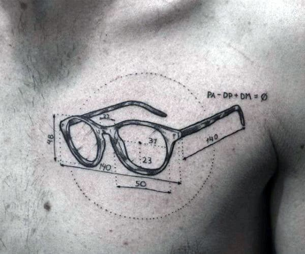 Measurements Glasses Mens Upper Chest Manly Tattoo Ideas