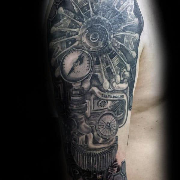 Mechanical Awesome Mens Arm Tatto Ideas