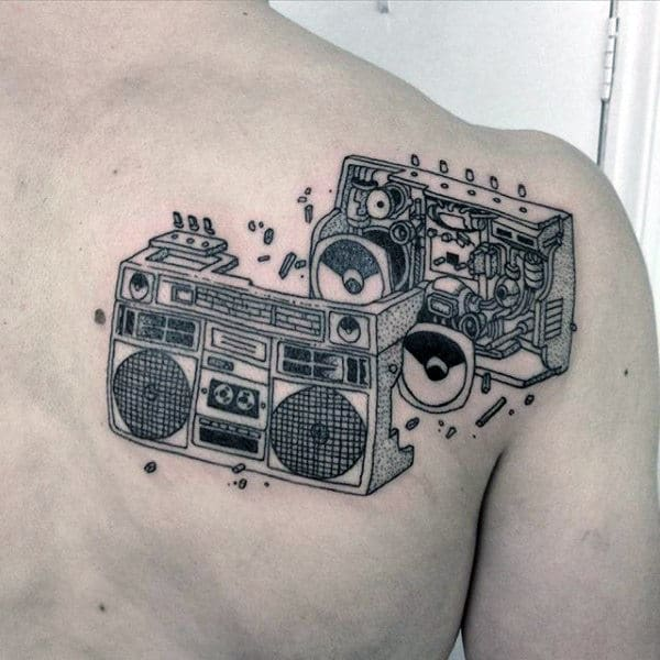 Mechanical Boombox Mens Upper Back Shoulder Tattoos