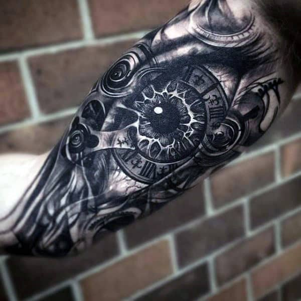 Mechanical Eye Mens Awesome Bicep Tattoo Designs