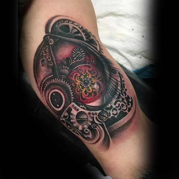 Mechanical Gear Inner Arm Mens Eye Tattoo