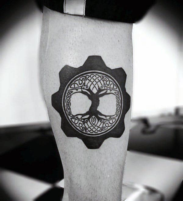 Mechanical Gear Tree Of Life Guys Leg Calf Tattoos