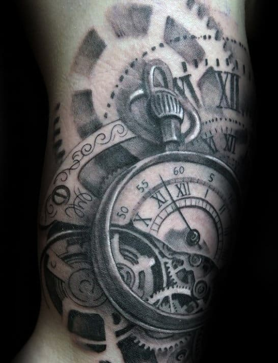 Mechanical Gears Guys Roman Numeral Pocket Watch Arm Tattoo Design Ideas