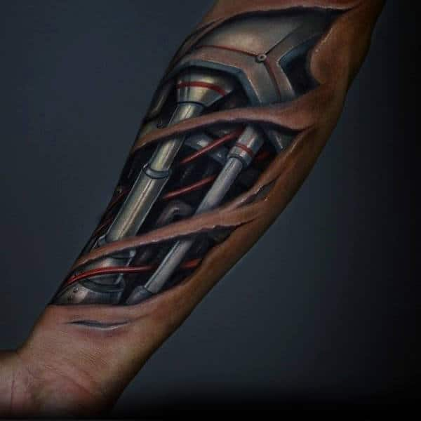 Mechanical Gears Mens Detailed Ripped Skin 3d Forearm Tattoo