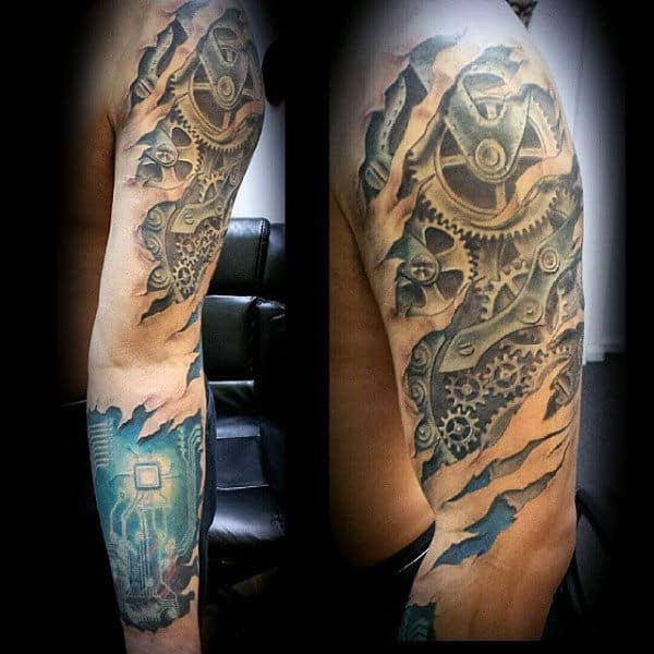 Mechanical Gears With Circuit Board Mens 3d Ripped Skin Sleeve Tattoo
