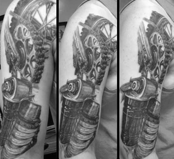 Mechanical Half Sleeve Dirt Bike Male Motocross Tattoo