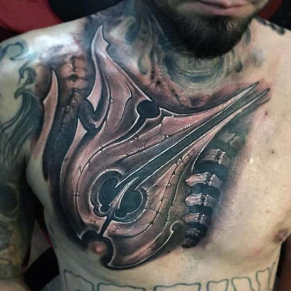 Mechanical Insane Mens Upper Chest Shaded Tattoos
