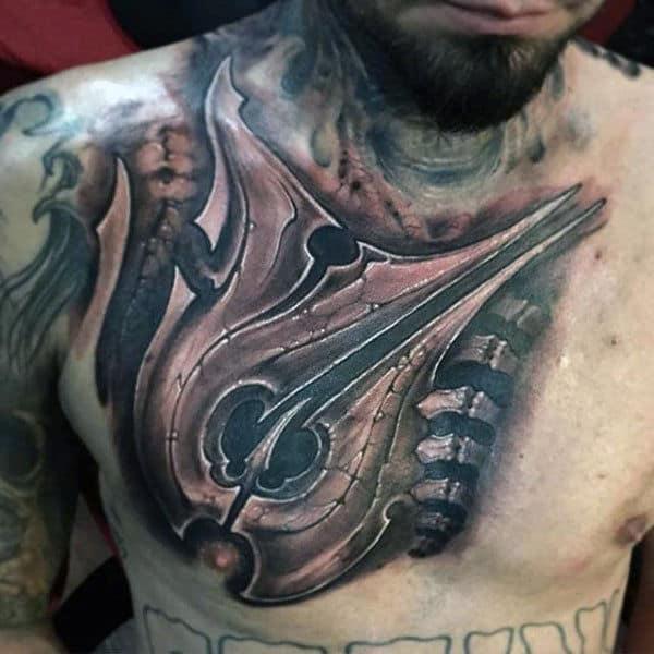 Mechanical Insane Mens Upper Chest Shaded Tattoos
